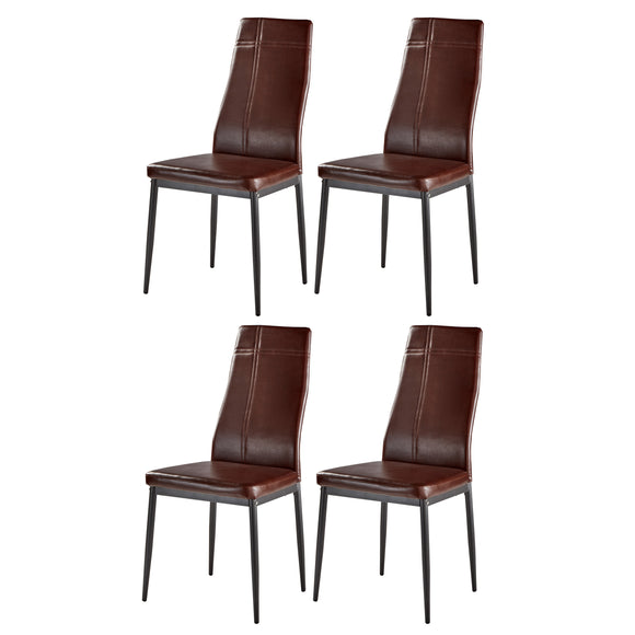 Bri Kitchen Dining Chairs, Dark Brown Faux Leather