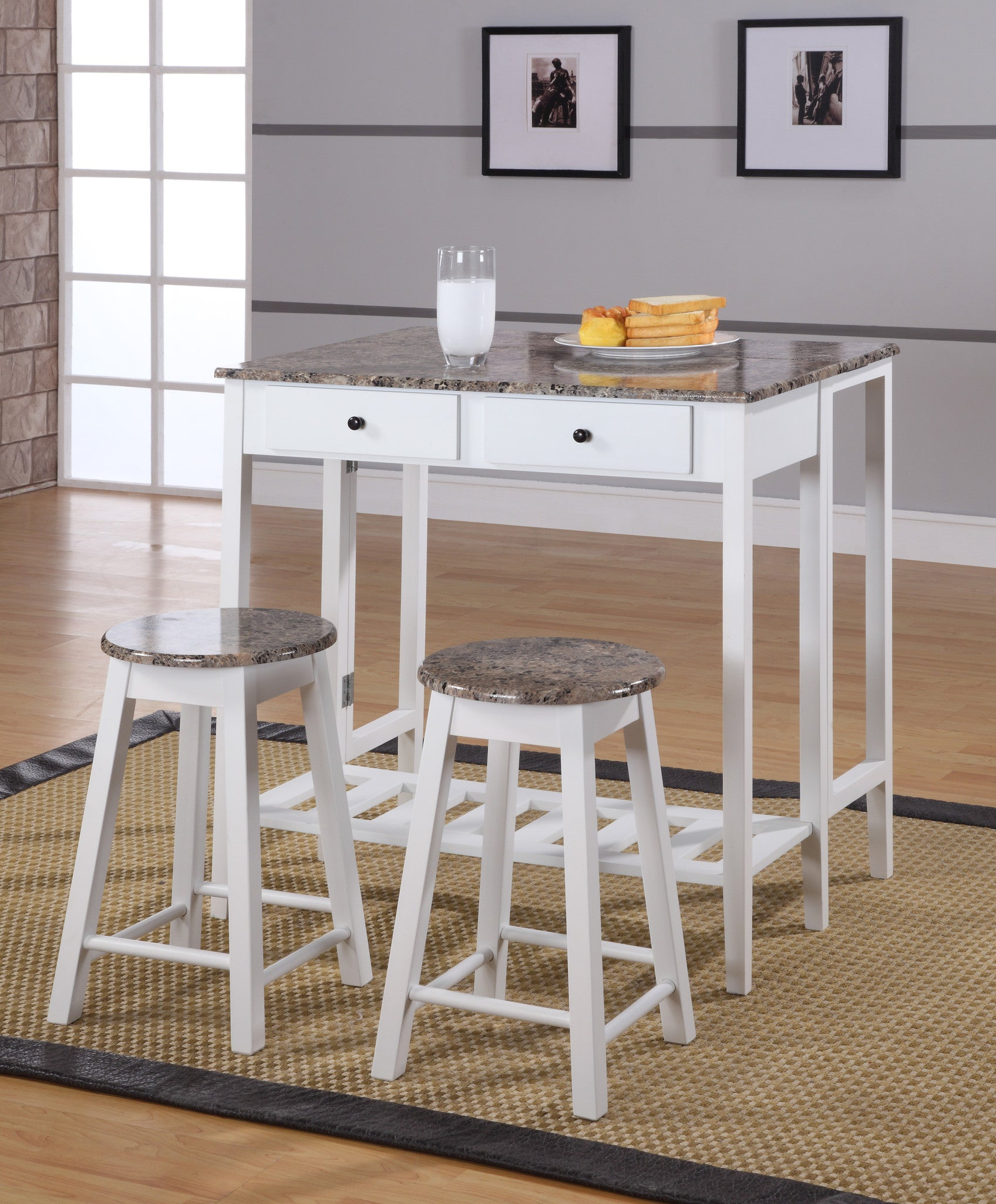 Rave 3 Piece Kitchen Breakfast Pub Set White With Marble Top Wood Contemporary Folding Drop Down Table 2 Stools 2 Storage Drawers