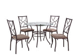Colette Dining Set, Copper Metal, Glass, Microfiber