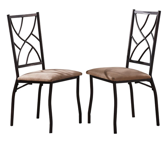 Colette Dining Chairs, Bronze Metal & Fabric