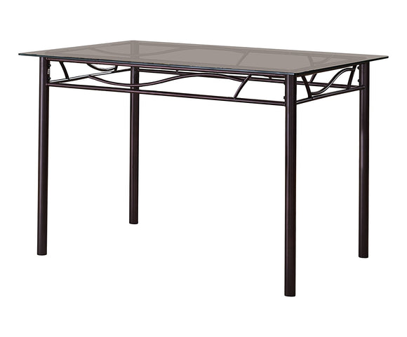 Colette Dining Table, Bronze Metal & Tempered Glass