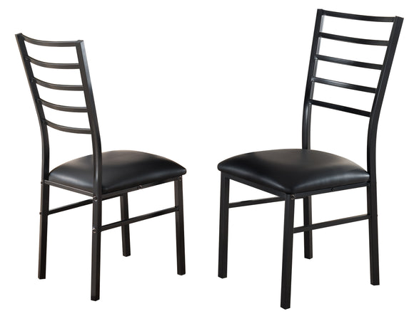 Maxen Kitchen Dinette Dining Chairs, Black Metal Frame & Vinyl Seats