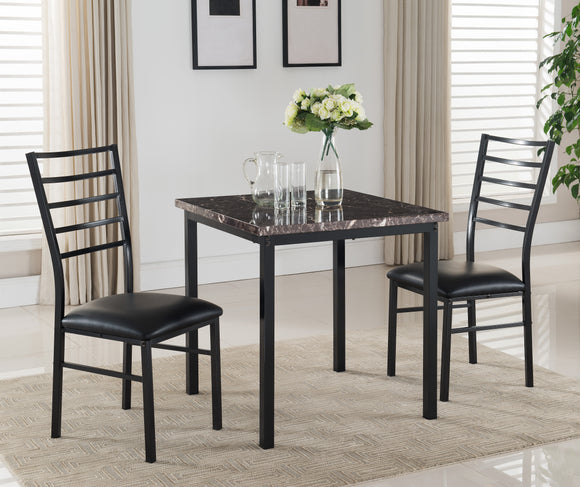 Maxen 3 Piece Dining Set, Black Metal & Faux Marble