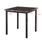 Maxen Kitchen Dinette Dining Table, Black Metal Frame & Faux Marble Top