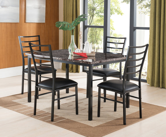 Black & Faux Marble Metal Square or Rectangle Kitchen Dinette Dining Table & Side Chairs - Pilaster Designs
