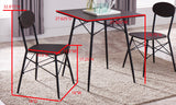 Valley Dining Set, Black Metal & Walnut Wood