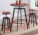 Toby Adjustable Height Pub Set, Brown Wood & Metal