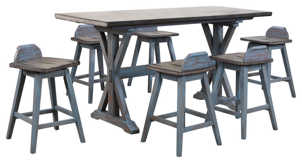 Kris Counter Height Dining Set, Distressed Gray & Washed Blue Wood
