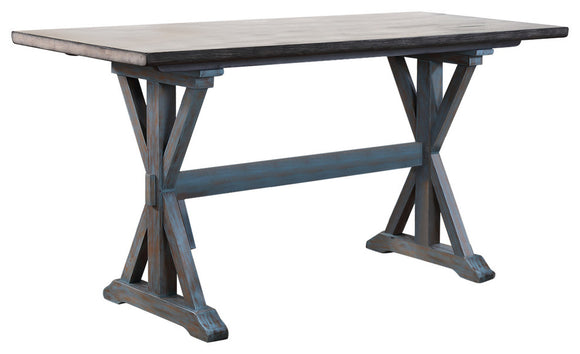 Kris Counter Height Dining Table, Gray & Blue Wood