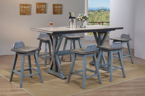 Kris Gray & Blue Wood Farmhouse Counter Height 36-Inch Rectangle Kitchen Dinette Dining Table & 28