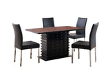 Leina 5 Piece Dining Set, Black Wood