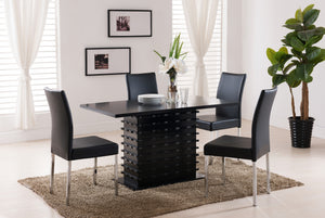 Black Wood Rectangle Kitchen Dinette Dining Room Table & Parsons Side Chairs - Pilaster Designs