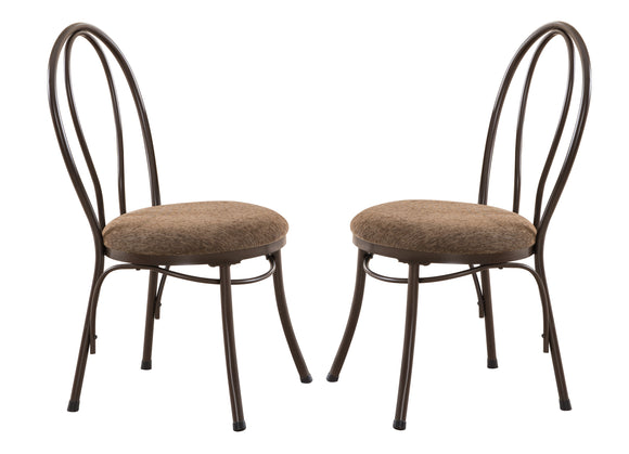 Celine Kitchen Dining Chairs, Copper Metal & Brown Microfiber