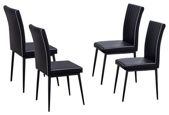 Geneva Dining Chairs, Black Faux Leather & Metal