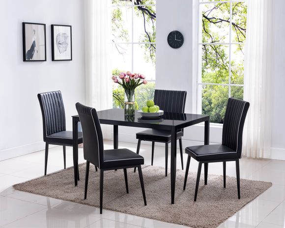 Geneva 5 Piece Dining Set, Black Faux Leather, Metal & Tempered Glass