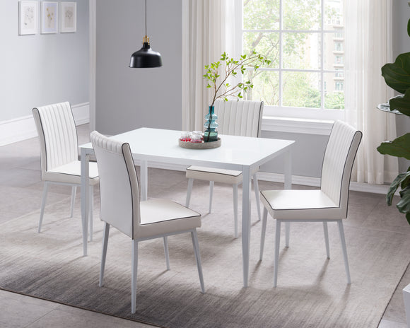 Geneva 5 Piece Dining Set, White Faux Leather, Metal & Tempered Glass