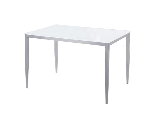 Geneva Dining Table, White Metal & Tempered Glass