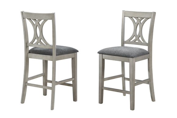 Garcia Counter Height Chairs, Wash White Wood & Gray Fabric