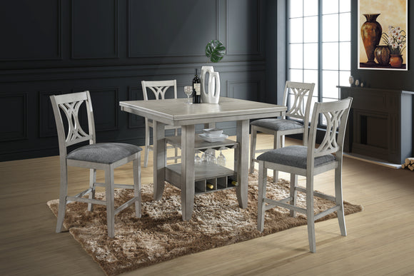 Garcia Counter Height Dining Set, Wash White Wood & Gray Fabric