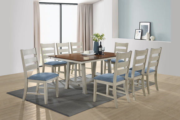 Kira 9 Piece Dining Set, Walnut & Smoke White Wood, Blue Fabric