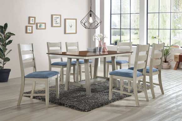 Kira 7 Piece Dining Set, Walnut & Smoke White Wood, Blue Fabric