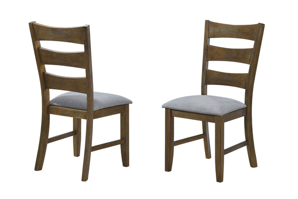Carlino Set of Two Dining Chairs, Brown Wood