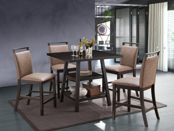 Canal Counter Height Dining Set, Cappuccino & Chocolate