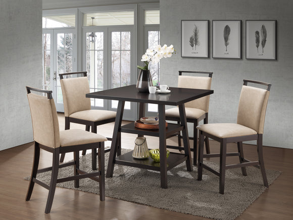 Canal Counter Height Dining Set, Cappuccino & Clay