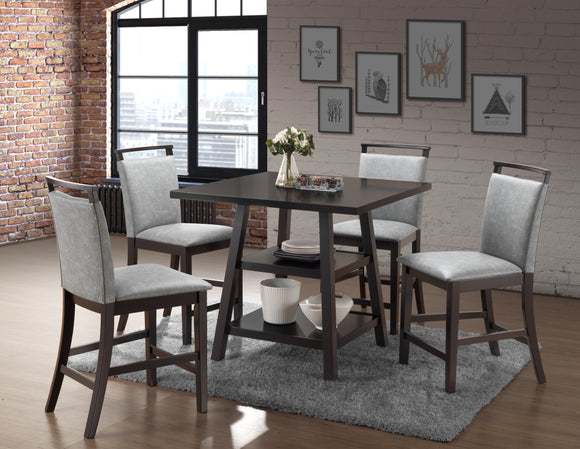 Canal Counter Height Dining Set, Cappuccino & Gray