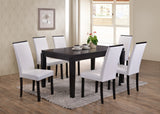 Astaire Dining Chairs, White Faux Leather & Cappuccino Wood