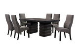 Aziza 7 Piece Dining Set, Cappuccino Wood