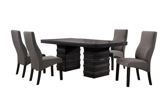 Aziza 5 Piece Dining Set, Cappuccino Wood