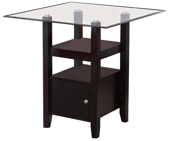 Lenn Counter Height Dining Table, Cappuccino Wood & Beveled Glass Top