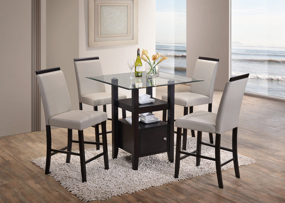 Lenn Counter Height Dining Set, Cappuccino & Gray