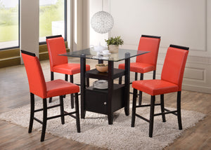 Lenn Counter Height Dining Set, Cappuccino & Red