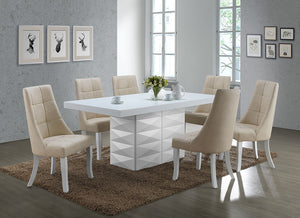 Lexie Dining Set, White Wood & Beige Vinyl