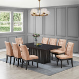 Riley Pedestal Dining Table, Cappuccino Wood