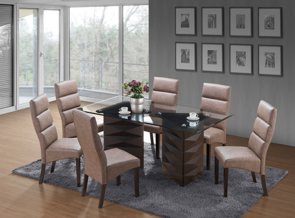 Olivia Dining Set, Cappuccino Wood & Chocolate Faux Leather