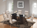 Olivia Dining Set, Cappuccino Wood & Clay Faux Leather
