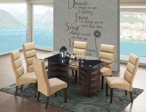 Olivia Dining Set, Cappuccino Wood & Coffee Faux Leather