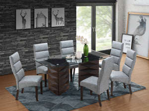 Olivia Dining Set, Cappuccino Wood & Gray Faux Leather