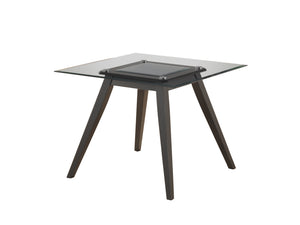 "Pyke Dining Table, Cappuccino Wood & Tempered Glass, 40"" Square"