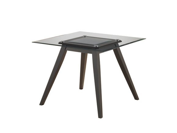 Pyke Dining Table, Cappuccino Wood & Tempered Glass, 40