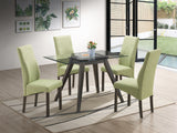 Pyke Parsons Dining Chairs, Light Green Fabric & Cappuccino Wood