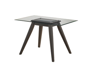 "Pyke Dining Table, Cappuccino Wood & Tempered Glass, 47"" Rectangular"