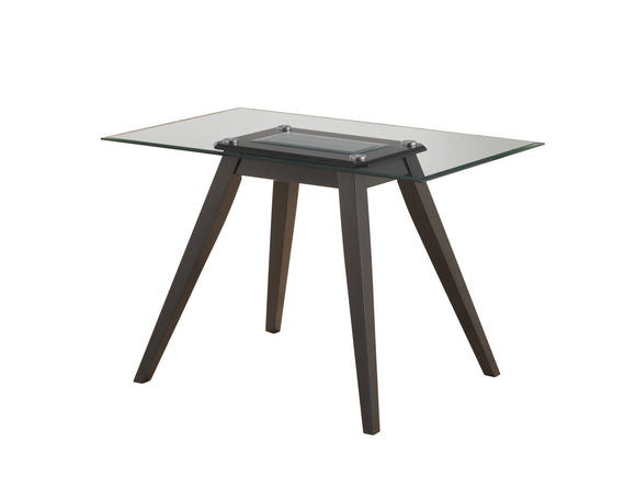 Pyke Dining Table, Cappuccino Wood & Tempered Glass, 47