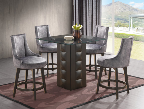Walden Counter Height Dining Set, Cappuccino Wood & Gray Fabric