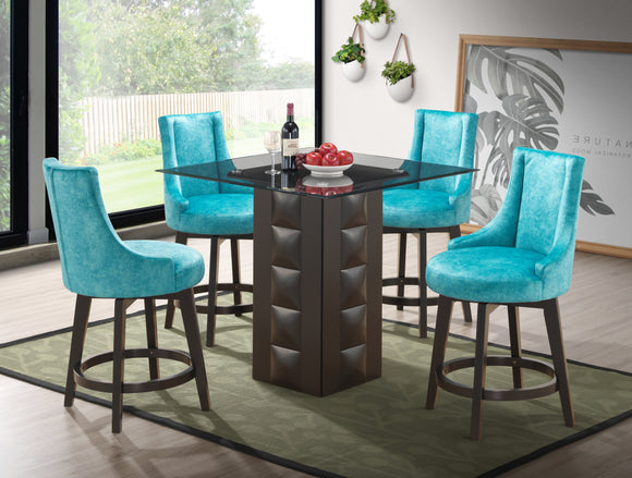 Walden Counter Height Dining Set, Cappuccino Wood & Light Blue Fabric