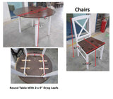 Gaines Drop Down Dining Set, Cherry & White Wood