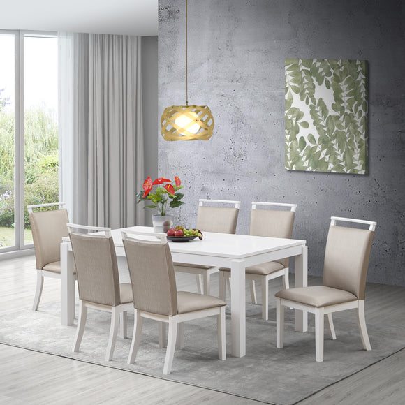 Danby 7 Piece Dining Set, Gray Fabric & White Wood